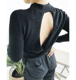 Fuzzy Sweater with Open Back Detail