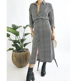 Robe chemise tartan  à manches longues