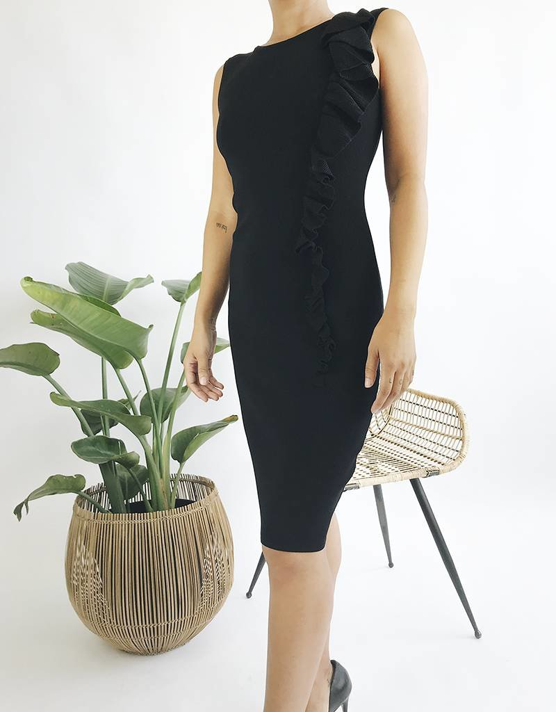 Bodycon Ribbed Dress with Ruffle Detail