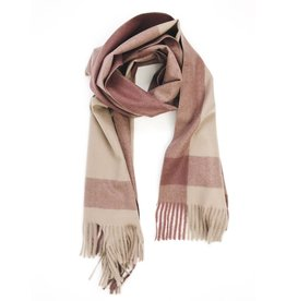 Soft Cashmere Check Scarf with Tassels - Burgundy