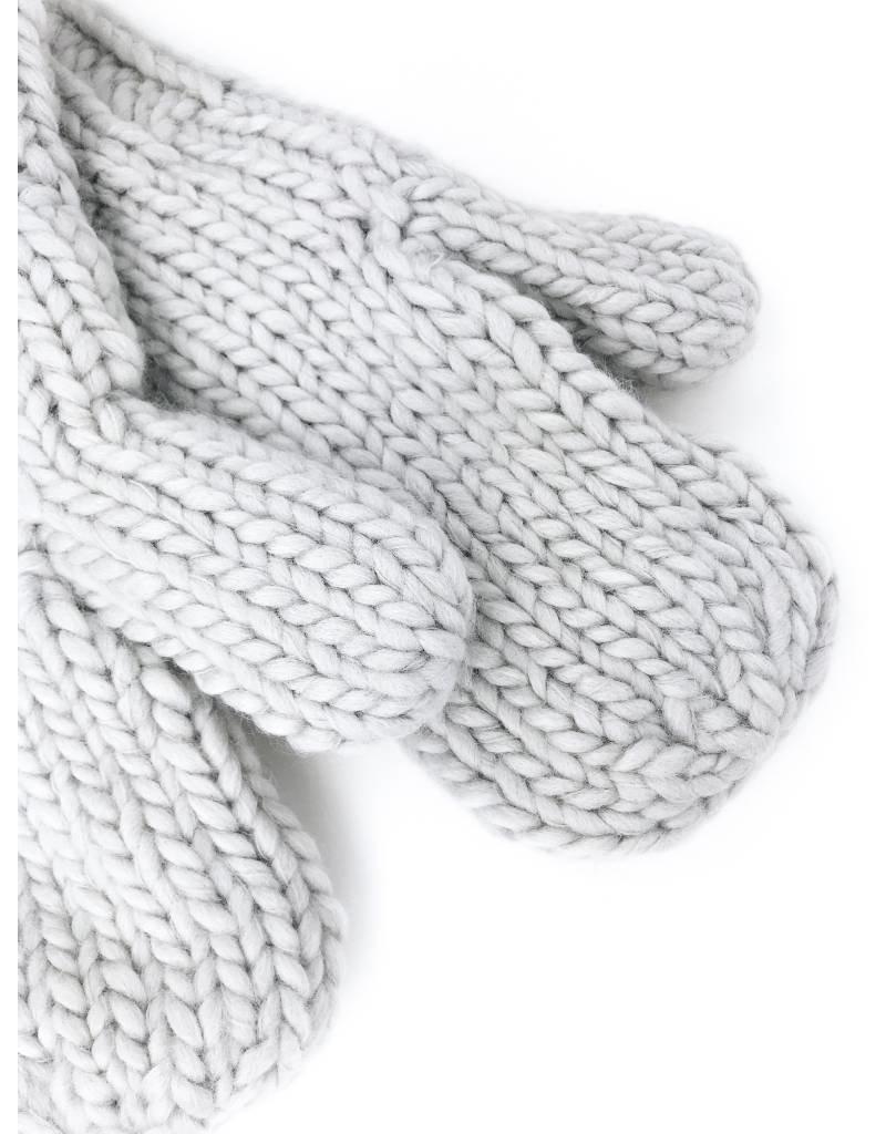 Moufles en tricot épais avec doublure en peluche - Gris