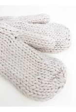 Moufles en tricot épais avec doublure en peluche - Ivoire