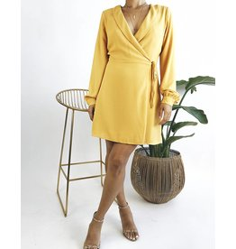 Wrap Dress with Collar & Barrel Sleeves