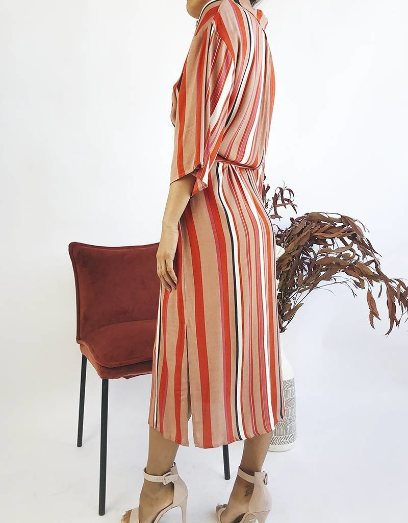 Striped Shirt Dress with Belt Attached