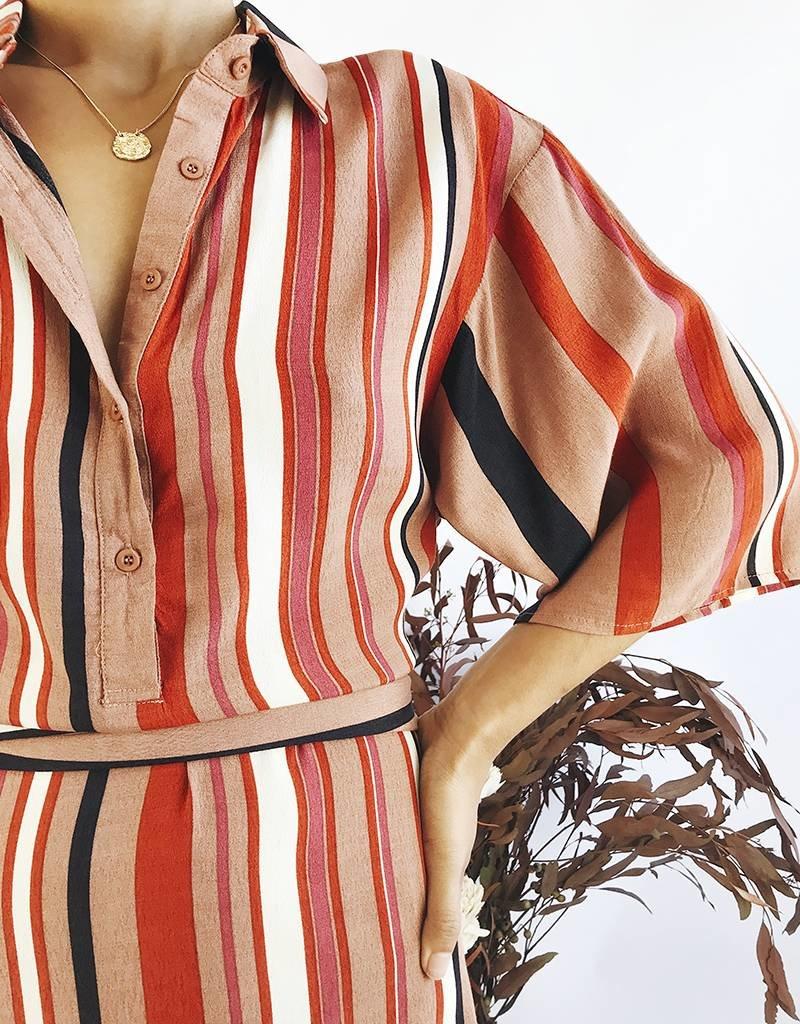 Robe chemise à rayures avec ceinture