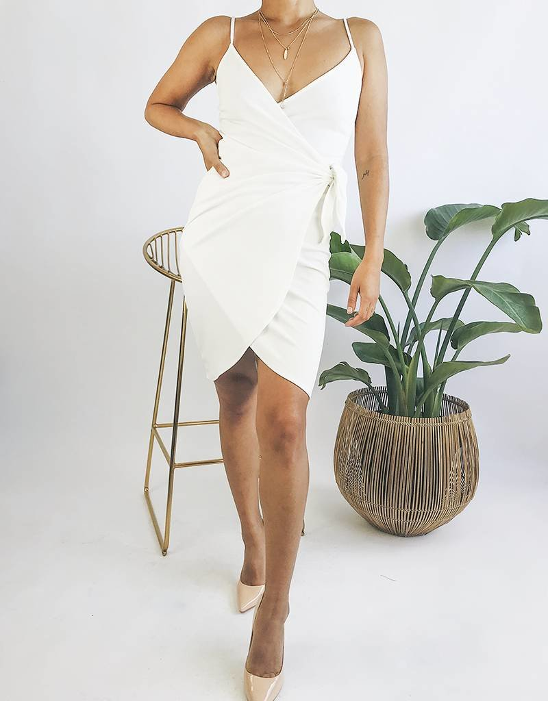 Bodycon Wrap Style Dress with Straps