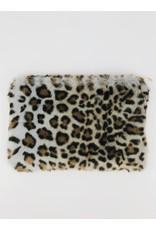 Pochette léopard en fausse fourrure - Bleu pale