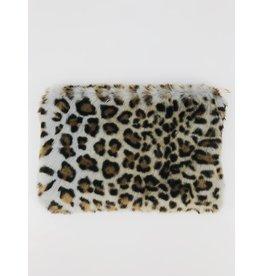 Faux-Fur Leopard Clutch - Light Blue