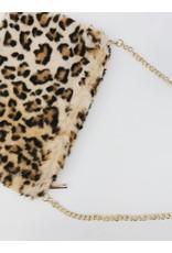 Faux-Fur Leopard Clutch - Beige