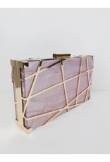 Pearlescent Finish Gold Metal Clutch