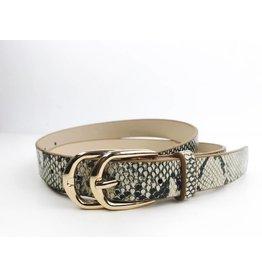 Double Buckle Snake Print Belt - Beige