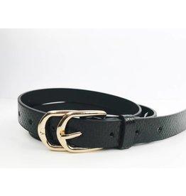 Snake Print Double Buckle Belt - Black