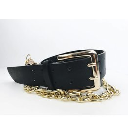 Double Prong Belt with Chain Detail - Gold / Black