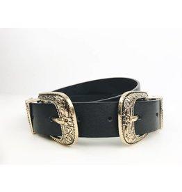 Faux Leather Western Double Buckle Belt - Gold / Black