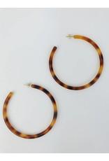 Tortoise Shell Hoop Earrings - Brown