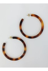Tortoise Shell Hoop Earrings - Brown