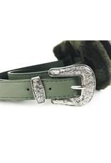 Faux Fur Belt Bag with Western Buckle - Olive
