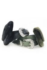 Sac ceinture en fausse fourrure avec boucle western - Olive