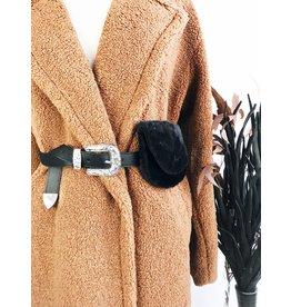 Faux Fur Belt Bag with Western Buckle - Black