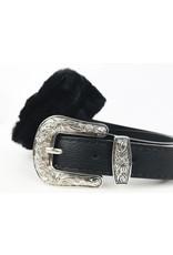 Sac ceinture en fausse fourrure avec boucle western - Noir