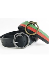 Belt with Round Snake Buckle