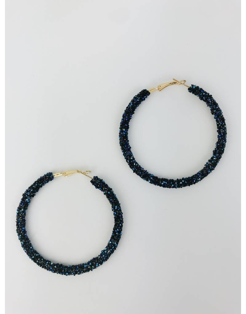 Encrusted Bead Large Hoop Earrings - Navy