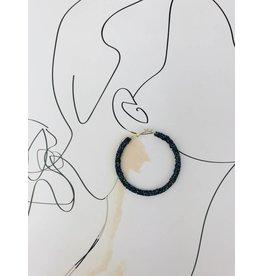 Boucles d'oreilles à anneaux incrustées - Bleu marine