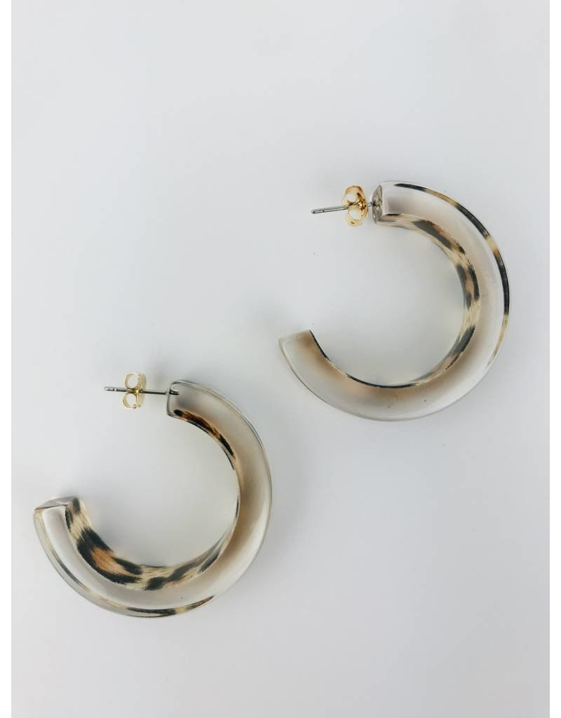 Clear Hoop Earring with Animal Print