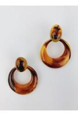 Tortoise Shell Drop Earrings - Brown