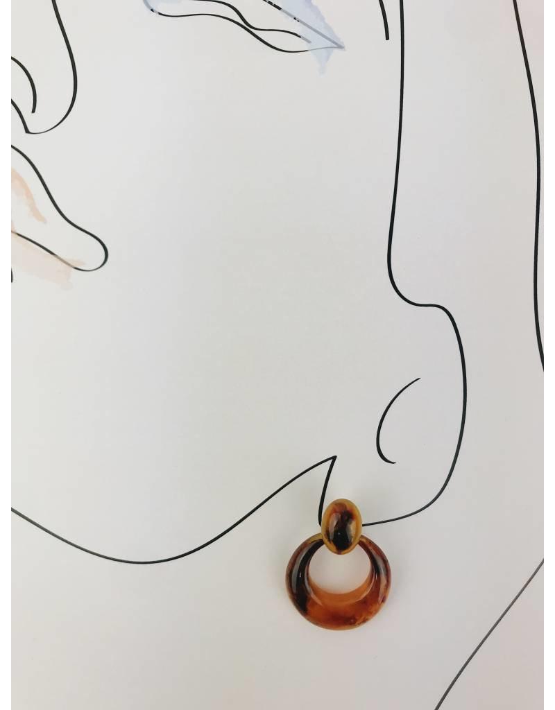 Boucles d'oreilles en écaille de tortue - Brun