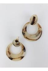 Boucles d'oreilles en écaille de tortue - Beige