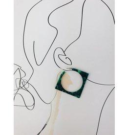 Boucles d'oreilles à anneaux carrées en écaille de tortue - Vert