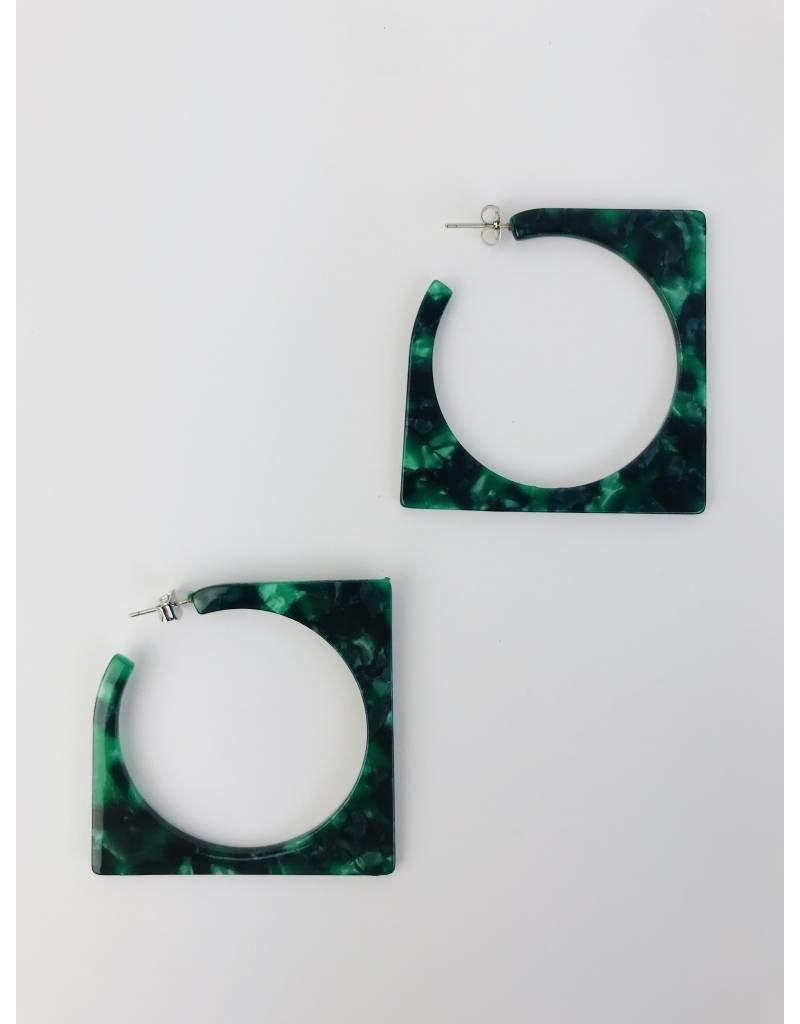 Square Tortoise Shell Hoop Earrings - Green