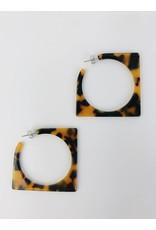 Boucles d'oreilles à anneaux carrées en écaille de tortue - Marron