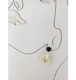 Wood Drop Earrings - White