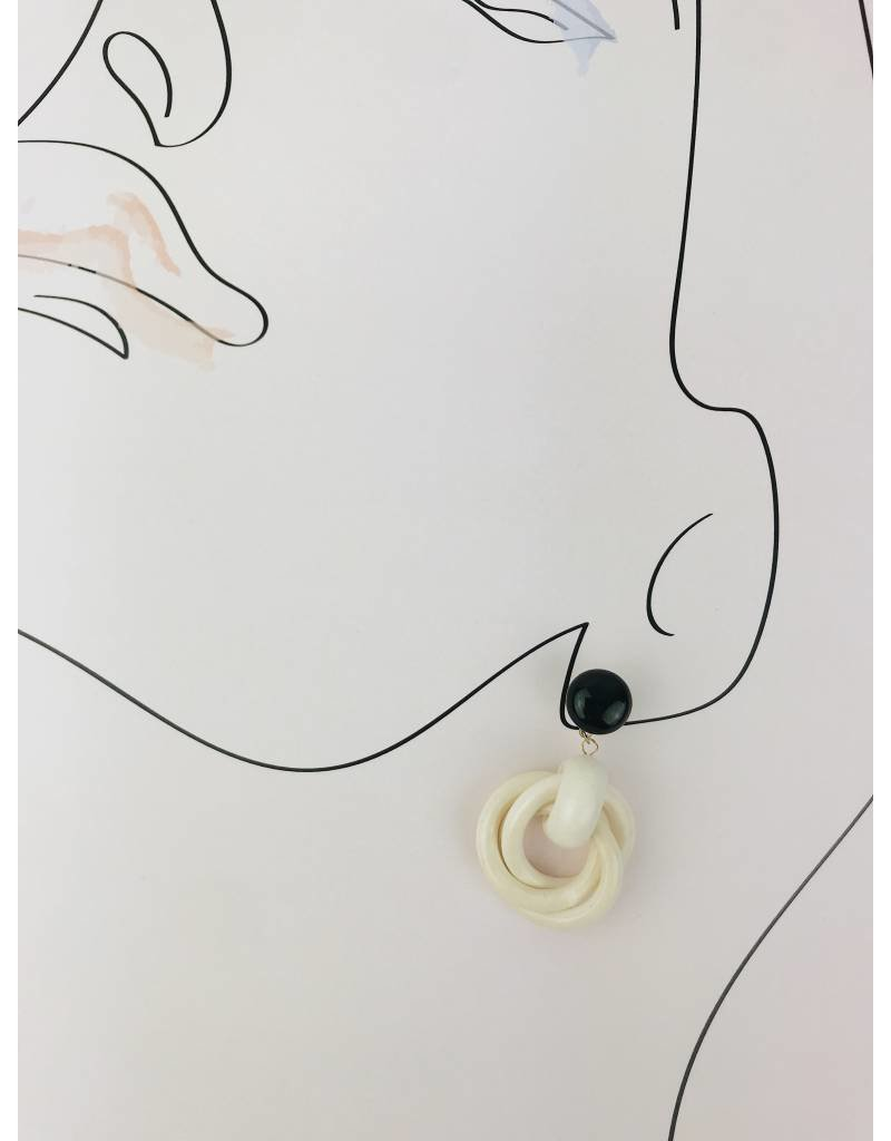 Boucles d'oreilles en bois - Blanc
