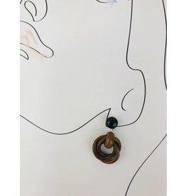 Wood Drop Earrings - Brown