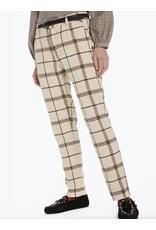Pantalon ajusté à carreaux avec ceinture