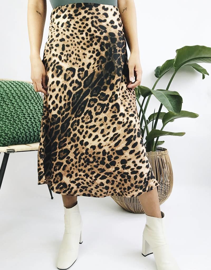 Jupe taille haute motif léopard