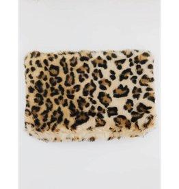 Pochette léopard en fausse fourrure - Beige