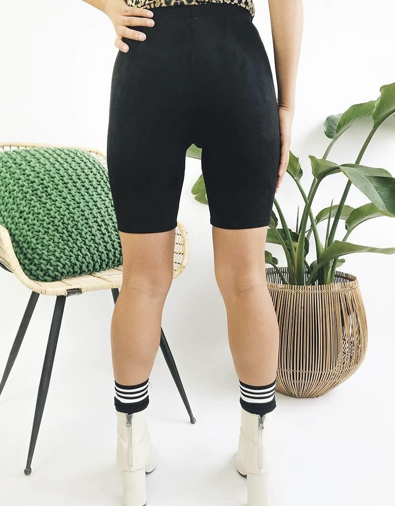 Short cycliste en faux suède - Noir