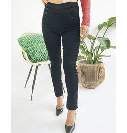 Jeans court skinny taille haute noir