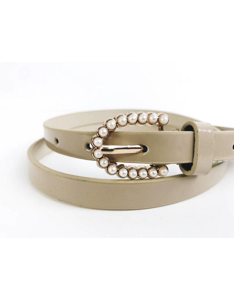 Slim Belt with Pearl Buckle