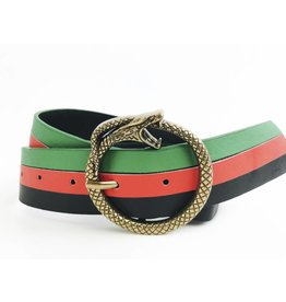 3 Colour Belt with Round Snake Buckle - Red/Green/Black