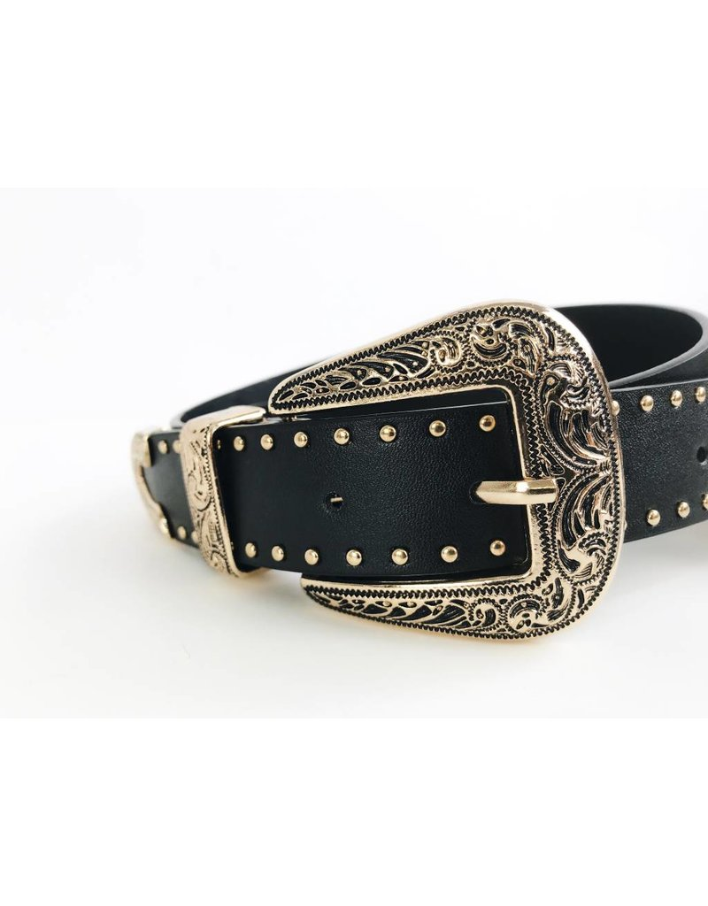 Western Style Double Buckle Belt with Studs - Gold / Black