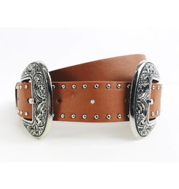 Western Style Double Buckle Belt with Studs - Silver / Brown