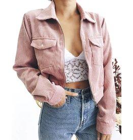 Veste courte en velours rose