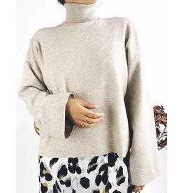 Turtleneck Sweater With Long Kimono Sleeves - Oatmeal