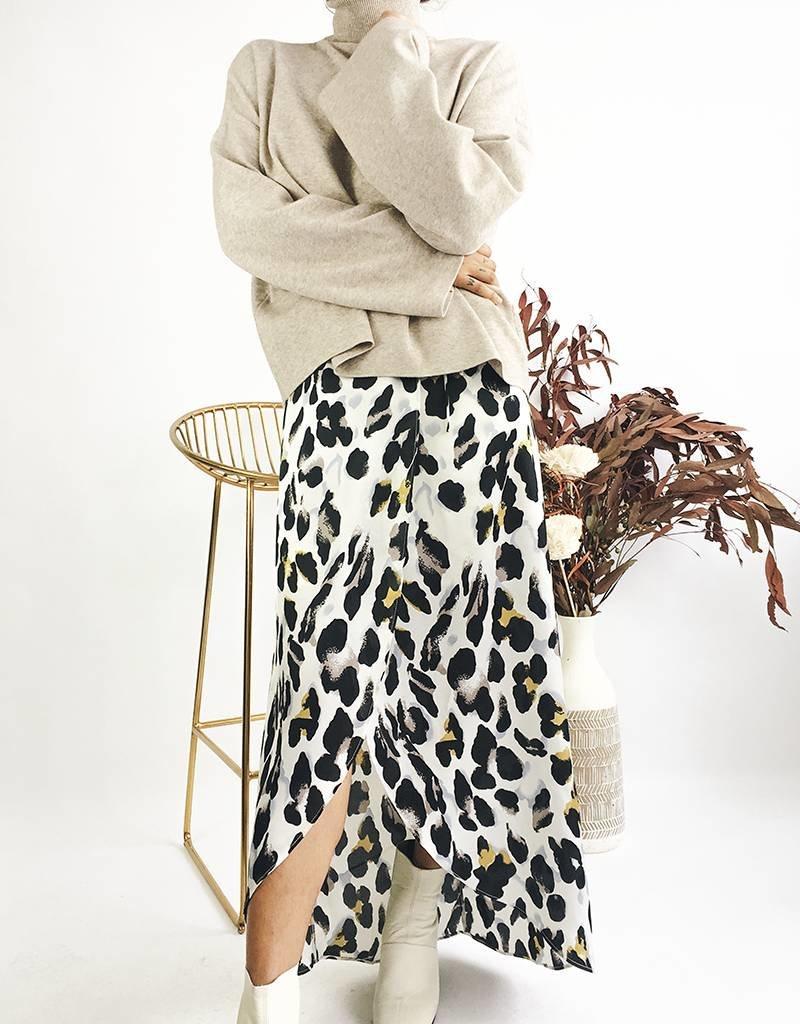 Pull col roulé à manches longues kimono - Beige