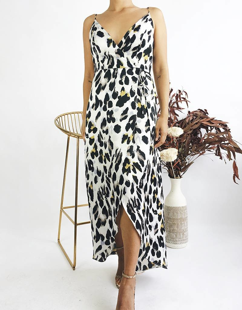 Leopard Print Long Wrap Dress With Straps